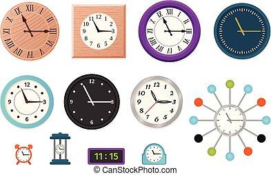 Wall clock set in flat design. Vector illustration.