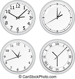 Vector grey wall clock on white background