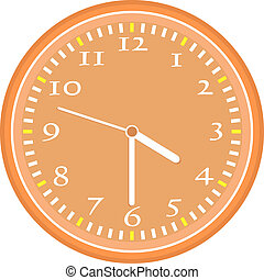 wall clock vector Vintage orange isolated on white