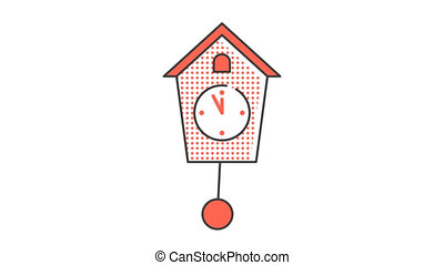 Wall clock with a pendulum. Animated looped icon pictogram with alpha channel.