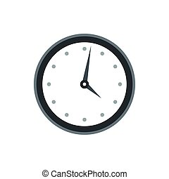 Wall clock with black rim icon, flat style