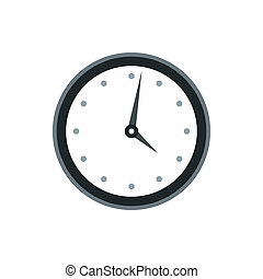 Wall clock with black rim icon, flat style - icon in flat ...