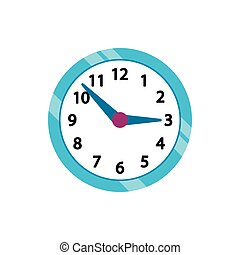 Wall clock with blue rim icon, flat style