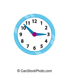 Wall clock with blue rim icon, flat style - icon in ...