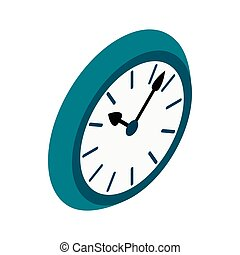 Wall clock with blue rim icon, isometric 3d style