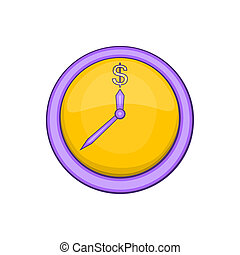 Wall clock with dollar symbol icon, cartoon style