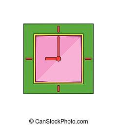 Wall clock with green rim icon, cartoon style