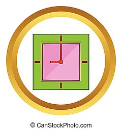 Wall clock with green rim vector icon