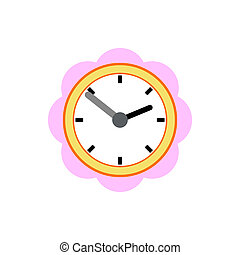 Wall clock with pink rim icon, flat style - icon in ...