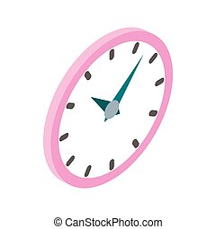 Wall clock with pink rim icon, isometric 3d style