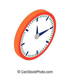 Wall clock with red rim icon, isometric 3d style