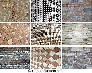 wall collage - 9 pieces of wall and floor photo