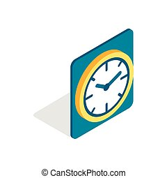 Wall color clock icon, isometric 3d style