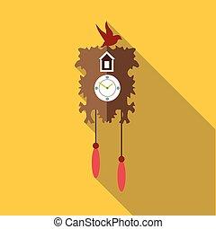 Wall cuckoo clock icon, flat style - Wall cuckoo clock icon....