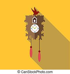 Wall cuckoo clock icon, flat style