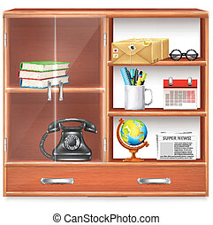 Wall Cupboard with Items