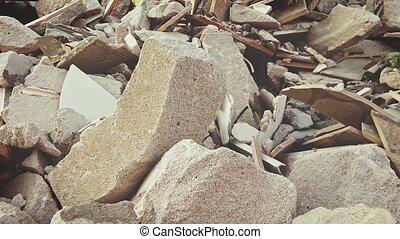 wall., déchets ménagers, démoli, bâtiment, tas, site