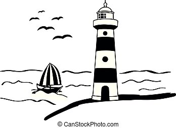 wall decal lighthouse shine light sea maritime boat ship...