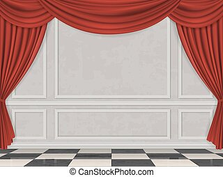 Wall decorated moulding panels checkered floor and red...