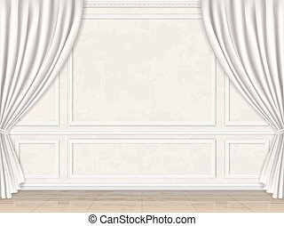 wall decorated panel mouldings and curtains