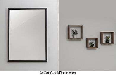 Wall decoration - black wooden frame and wall shelves