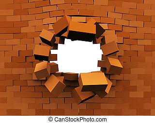 wall demolition - 3d illustration of brick wall demolition,...
