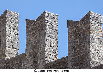 Wall detail of medieval fortress. San Marino, Europe.