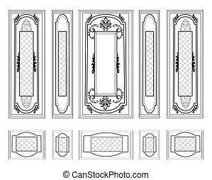 Wall Frames wainscoting Decorative - Vector Wall Frames...