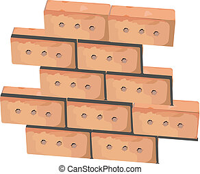 Wall from bricks - First bricks of new house. Brick wall...