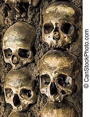 Wall full of skulls and bones