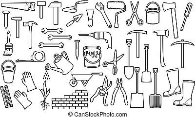 wall), gieter, rol, gereedschap, spijker, mager, kruiwagen, (ax, lijn, schop, verf , snoeitang, hamer, schaar, set, iconen, baksteen, trowel, hark, moersleutel, plukken