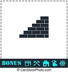Wall icon flat