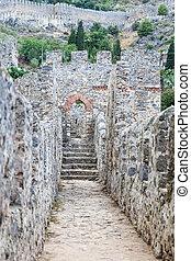 Wall in Alanya Old Shipyard, Alanya Town, Antalya, Turkey -...