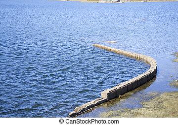 Wall in lake