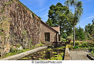 Wall in Logan Botanic Gardens - View of a wall with a small...