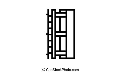 wall insulation layer animated black icon. wall insulation layer sign. isolated on white background