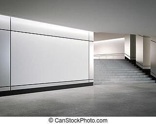 wall., interpretazione, vuoto, bandiera, argento, 3d