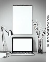 wall., interpretazione, vuoto, calendario, bianco, 3d