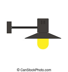 Wall lamp bright light illustration style vector icon. Electric illuminated yellow decorative interior room equipment
