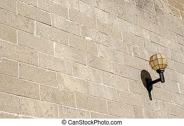 Wall lamp on old building at Otaru, Hokkaido, Japan