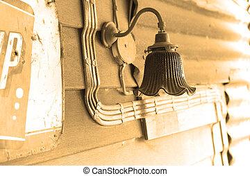 Wall lamp on wall