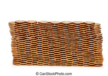 Wall made of coins - isolated on white