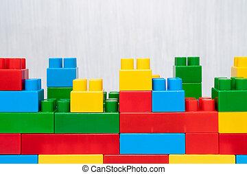 Wall Made of Plastic Blocks