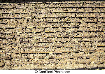 Wall made up of mud-brick and soil