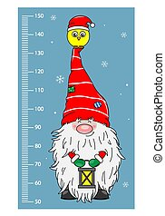 Wall meter. Gnome with bird in the hat