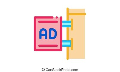 wall-mounted advertising animated icon on white background