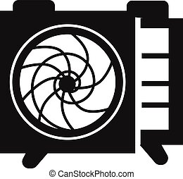 Wall mounted air conditioner icon, simple style - Wall...