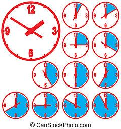 Wall mounted digital clock. Vector illustration.