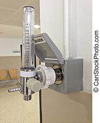 wall-mounted, flujo, oxígeno