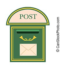 Wall Mounted Metal Mailbox Isolated Flat Vector